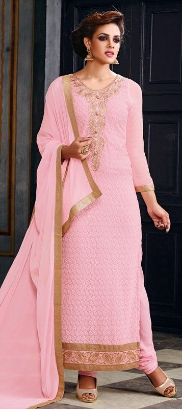 449390 Pink and Majenta  color family Party Wear Salwar Kameez in Faux Georgette fabric with Lace, Machine Embroidery, Resham, Thread work .