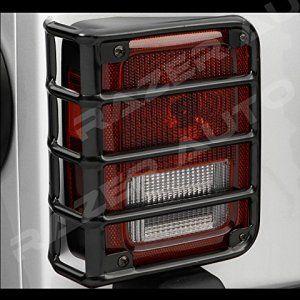 Razer-Auto-07-16-Jeep-JK-Wrangler-Rubicon-Gloss-Black-Metal-Euro-Tail-Light-Taillight-Lamp-Guards-Cover-0-0