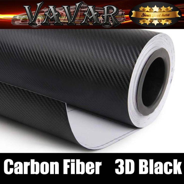 """24"""" X 60"""" 3D Black Carbon Fiber Vinyl Wrap Car Sticker Air Release Bubble Free #VAVAR"""