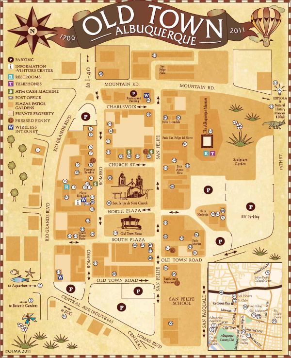 Old Town Albuquerque -- Great places to eat, great shops! We like to stay at motels nearby, because it's near museums, the Botanic Garden, the Aquarium & Zoo too.