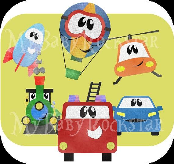 Cute Transportation Digital Clipart. Cars, a train, rocket, fire truck, helicopter, hot air balloon! #DigiBonBons