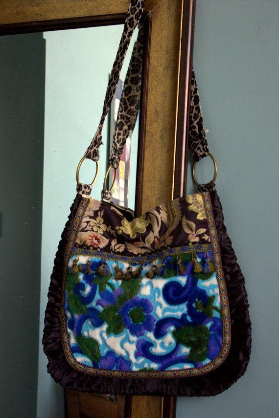 Cool blue gypsy bag , awesome vintage fabrics