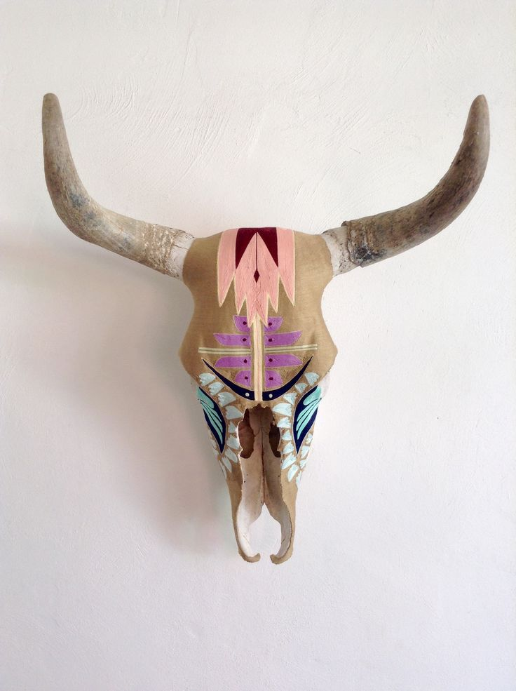 Desert Dawn - Yarn painted cow skull. Indigenous art form ...