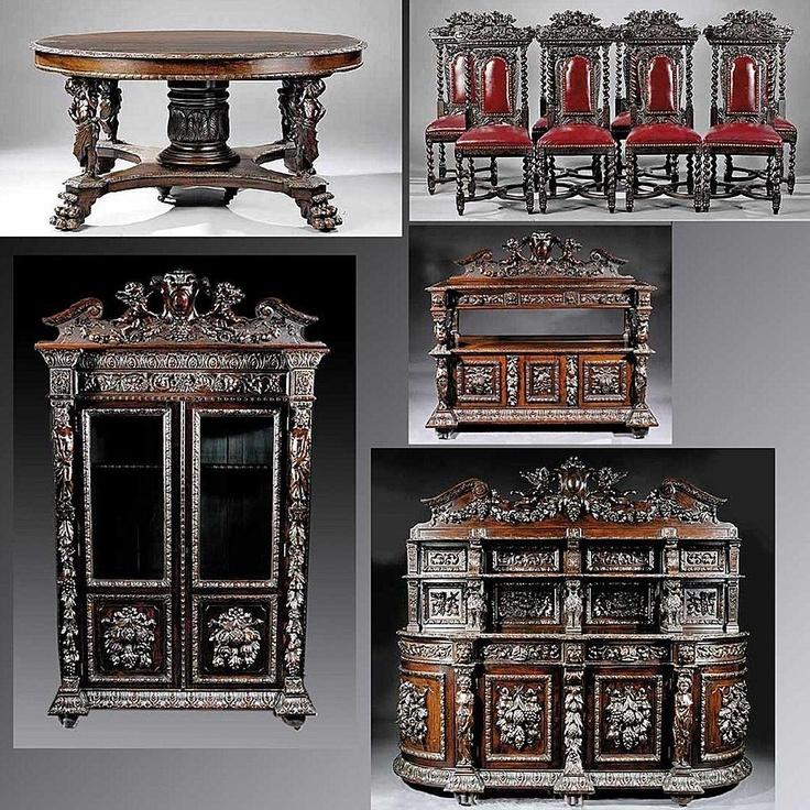 Antique Renaissance Revival Carved Oak Dining Room Suite