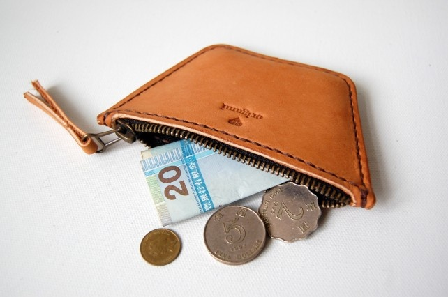 Large Tan Leather Coin Pouch.