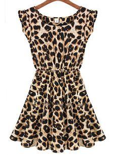 Popular Sleeveless Leopard Printing Slim Leisure Dress Women Summer Casual Dress