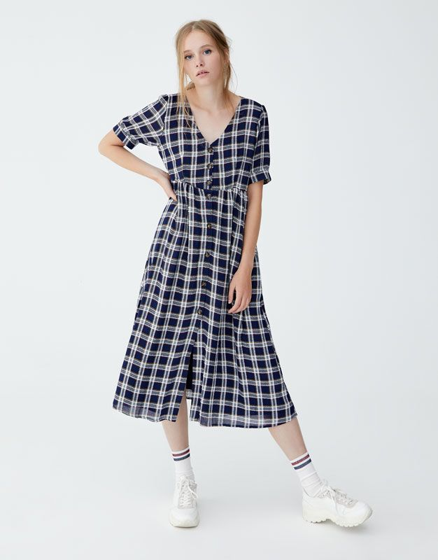 0802c16c125c Checked midi dress with front buttons - pull bear