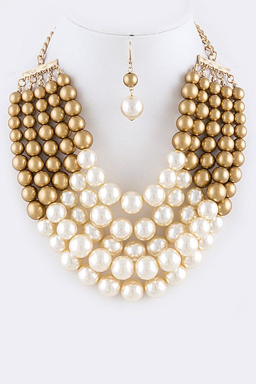 Gold Mixed Pearl Necklace Set