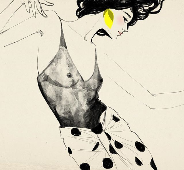 """Dance first think later. It's the natural order."""" Samuel Beckett . . . . . . . #dancefirst #thinklater#natural#order# beckett#dance # fridaymood #illustration #fashion #fashionillustration#sandrasuy #jacquemus #friday"""