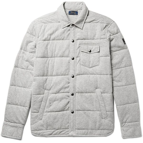 Polo Ralph Lauren Quilted Cotton-Jersey Shirt Jacket ($250) ❤ liked on Polyvore featuring men's fashion, men's clothing, men's outerwear, men's jackets, mens lightweight quilted jacket, mens lightweight jacket, mens light weight jackets and mens quilted jacket