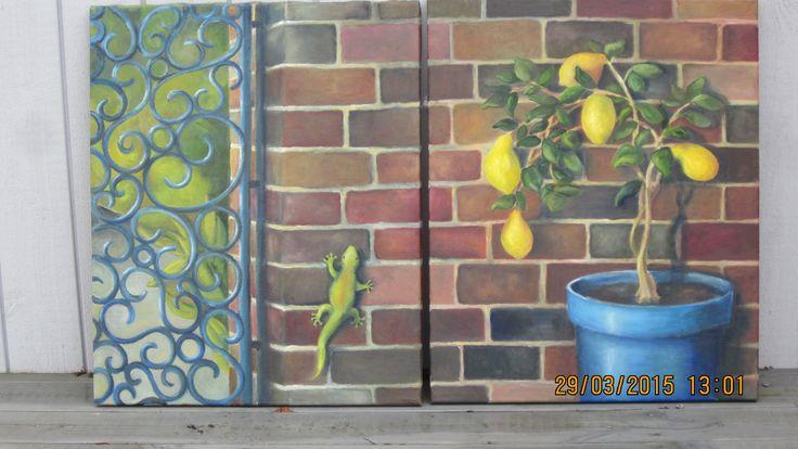 blå grind och trädgårdsmur, 2 tavlor som hör ihop