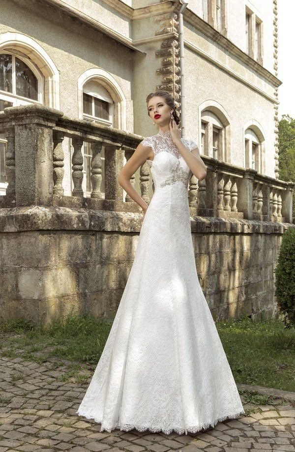 Wishesbridal Elegant High Neck #Lace A Line #WeddingDress Ace0014