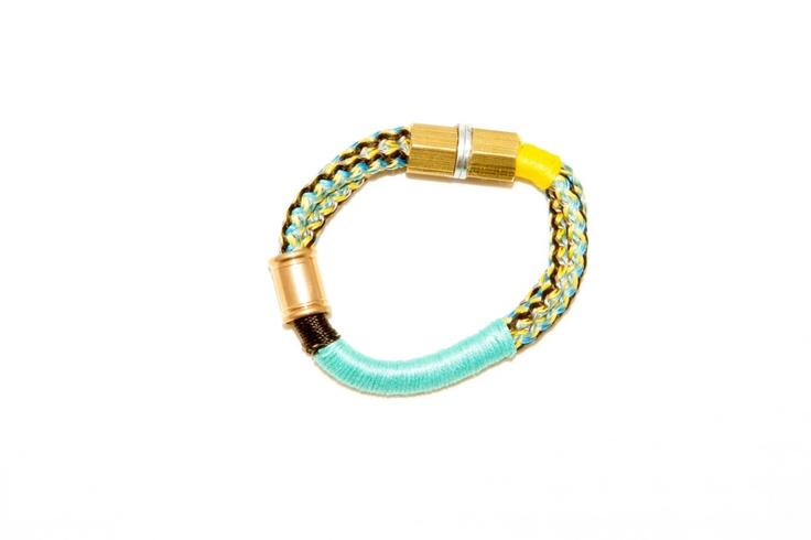 Tribal turquoise and yellow bracelet. $45.00, via Etsy.