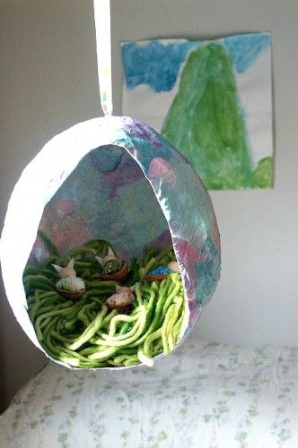 Another Paper Mache Egg Diorama - simple, sweet, Waldorf