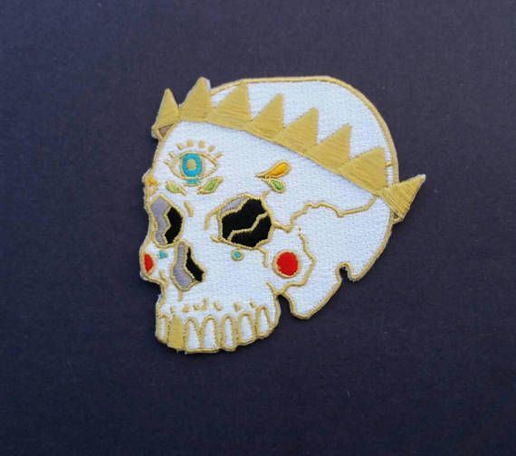 Skull with gold crown patch, Skull patches, iron on patches for jackets and backpacks, grunge, rock, punk
