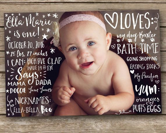 Customized First Birthday Photo Poster  by CustomChalkPosters