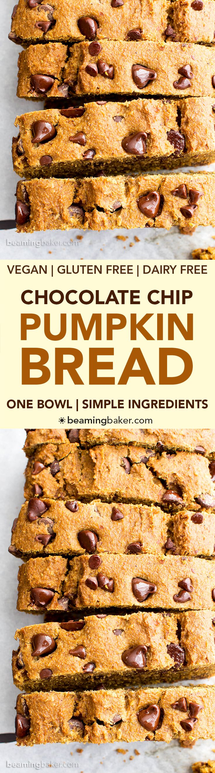 One Bowl Gluten Free Vegan Pumpkin Chocolate Chip Bread (V, GF, DF): an easy, one bowl recipe for perfectly moist pumpkin bread bursting with chocolate chips. #Vegan #GlutenFree #DairyFree | BeamingBaker.com