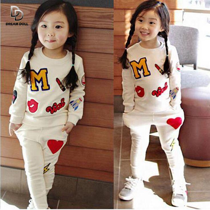 $11.50 (Buy here: https://alitems.com/g/1e8d114494ebda23ff8b16525dc3e8/?i=5&ulp=https%3A%2F%2Fwww.aliexpress.com%2Fitem%2F2016-autumn-winter-cotton-tracksuits-new-suit-girls-fashion-letter-long-sleeved-t-shirt-pants-2pcs%2F32731373324.html ) 2016 autumn winter cotton tracksuits new suit girls fashion letter long-sleeved t-shirt+pants 2pcs/set Kids clothing Sportswear for just $11.50