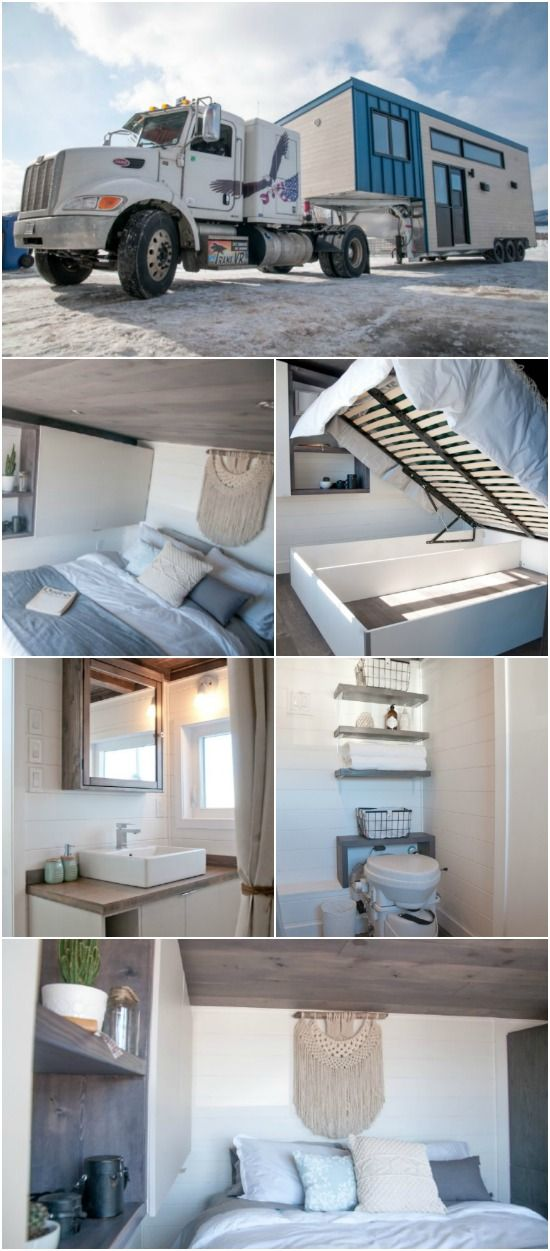 The 420 Square Foot Sakura Tiny House on Wheels by Minimaliste Houses in Canada - Minimaliste is a Quebec-based company with a passion for helping their clients take their dreams for a tiny house and turn them into reality. Their tiny houses on wheels start around $45,000 and go up to $110,000 based on options and upgrades. The Sakura is one of their impressive models built on a gooseneck trailer with 420 square feet, 6'3 head clearance in the bedroom, and a price tag of $93,000.