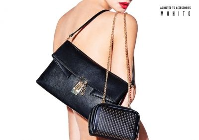 black lether handbag