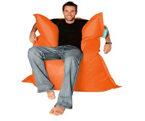 Get an orange bean bag just like this over at hugebeanbags.co.uk