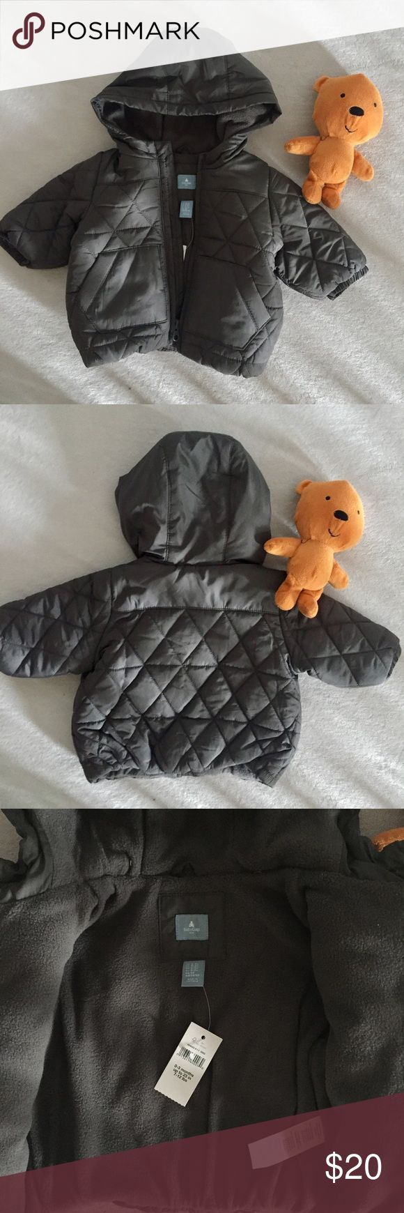 Baby Boy Winter Coat🐻 BRAND NEW.  Stylish baby boy winter coat , warm and easy to wear.  Light weight with felt lining.  Quilted design with plastic zipper. Baby Gap Jackets & Coats Puffers