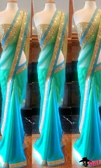 Plain net Saree (with Gold sequins worked blouse)