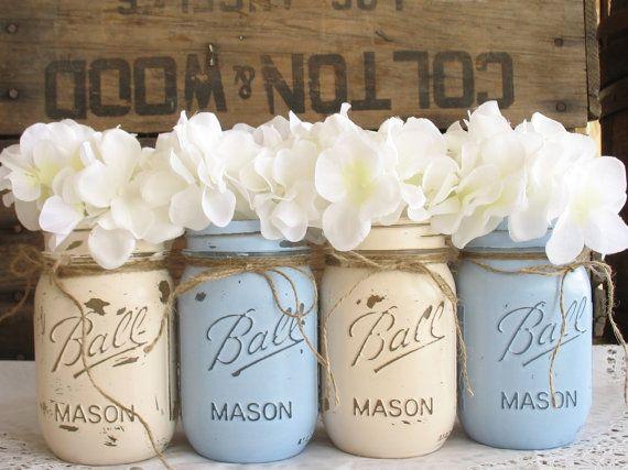 Mason Jars, Ball jars, Painted Mason Jars, Flower Vases, Rustic Wedding Centerpieces, Light Blue And Creme Mason Jars on Etsy, $32.00