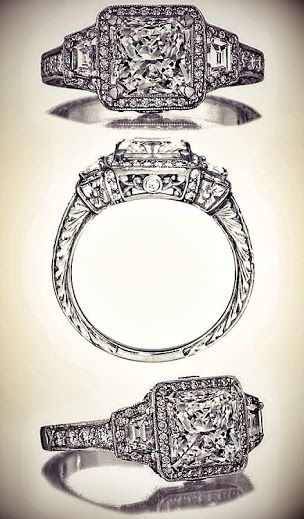 Radiant Diamond Halo Engagement ring trapezoids side stones