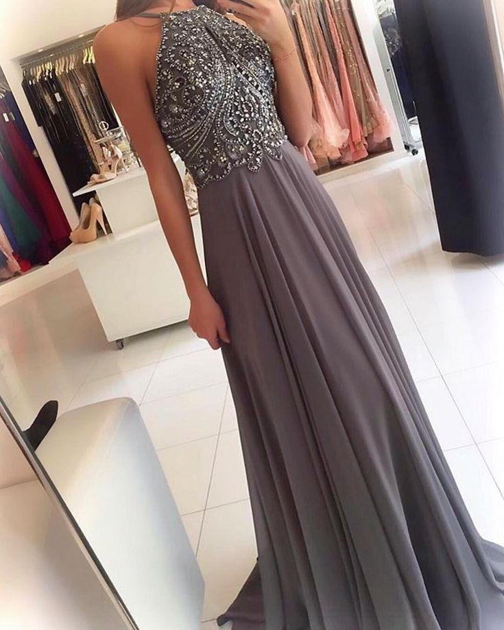 silver gray prom dress,halter prom dress,long prom gowns,beaded