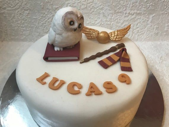 Edible Harry Potter Cake Topper Snitch Hedwig Hogwarts Sorting Hat personalised.