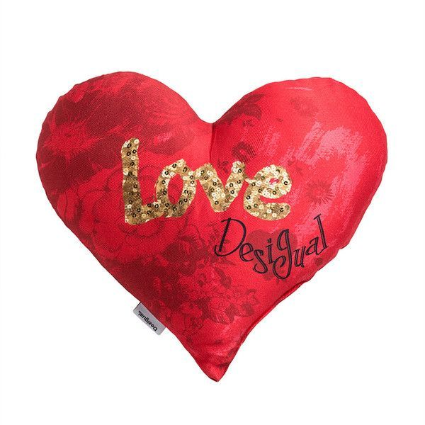 Desigual Heart Cushion - 50x45 ($64) ❤ liked on Polyvore featuring home, home decor, throw pillows, hearts, red, red toss pillows, gold sequin throw pillow, red throw pillows, heart home decor and desigual