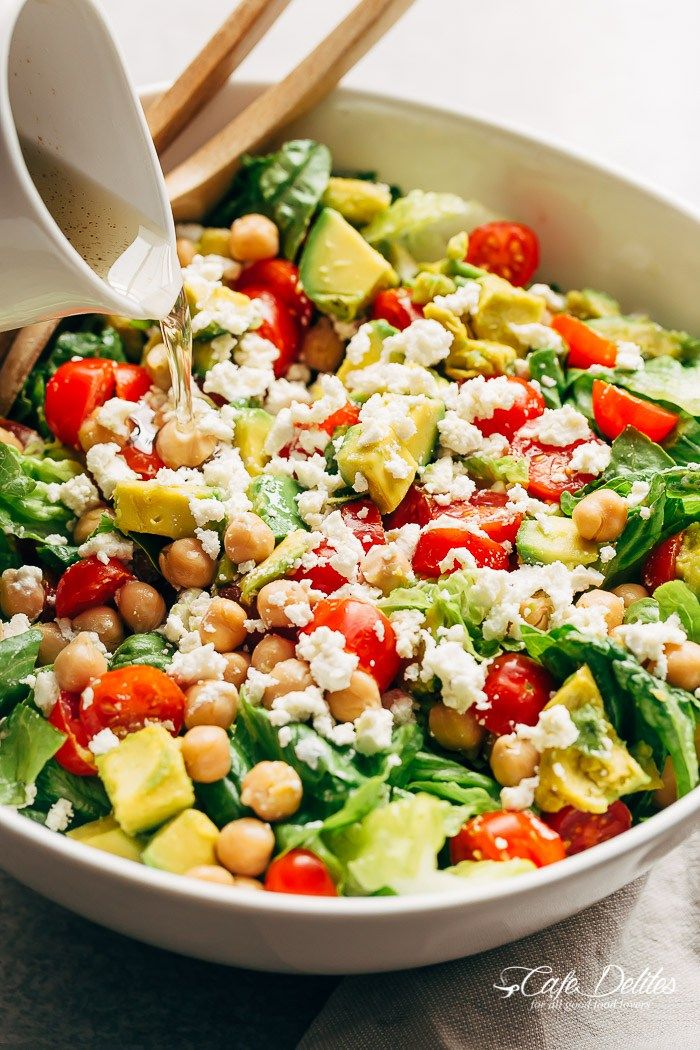 A simple Balsamic Chickpea Avocado Feta Salad full of Summery vibrant colours and flavours. Ready in under 5 minutes as a side or main!