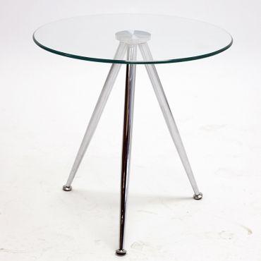 Konferenční stolek skleněný Tamara, 50 cm, čirá / chrom