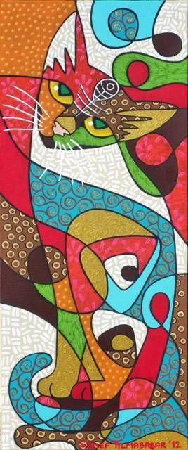 "Sedef Yılmabaşar Ertugan - Cat Art (""not a quilt, but it needs to be"" said a prev pinner) ♥•♥•♥"