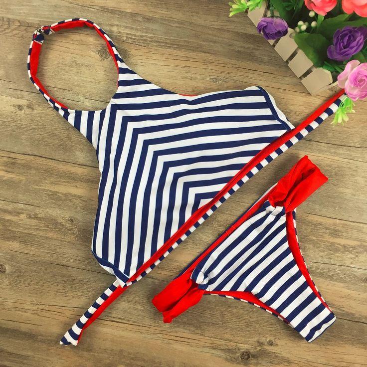 New  Bikinis Set Sexy High Neck Swimsuit Push Up Bikini 2017 Swimwear  Bandage Biquini Bathing Suit maillot de bain 1688