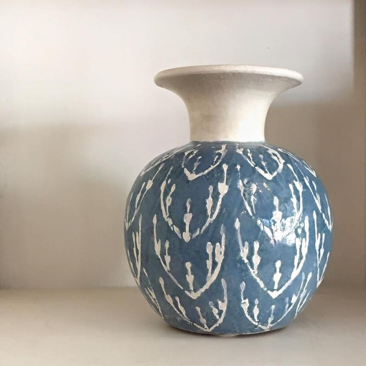 One of our all time favourites, the pale blue Cameroon Sky Vase... #highsttrading #strathalbyn #highstreet #pottery #vase #vessel #skyblue #blueandwhite #haveyoumetmissjones