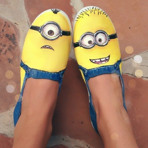 """Hand painted shoes -- Minions from the movie """"Despicable Me"""" on Etsy, $65.00"""