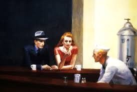 """[3] """"It sure gets lonely in this town at night!""""   http://maryemartintrilogies.com/?p=7297Nighthawks, #Edward #Hopper."""