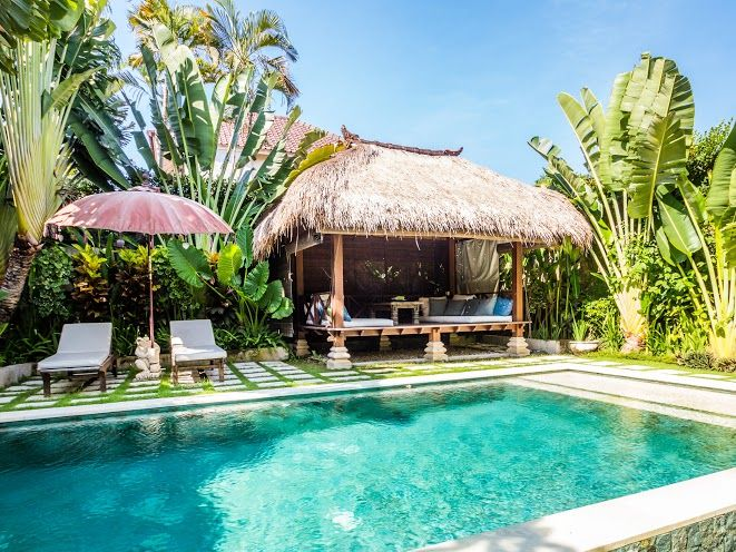 Villa Gembira | 2 bedrooms | Seminyak, Bali #bali #villa #swimmingpool #garden #gazebo