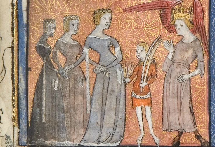 Amors and Douz Regart, Roman de la Rose, 14th century (c.1365), University of Chicago Library, MS 1380, fol 6r