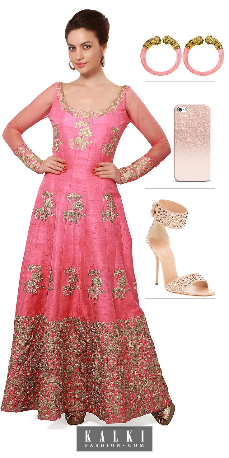 Mesmerize everyone with your superlative dress sense as you make your way dressed in this embellishing zari anarkali with resham embroidery.