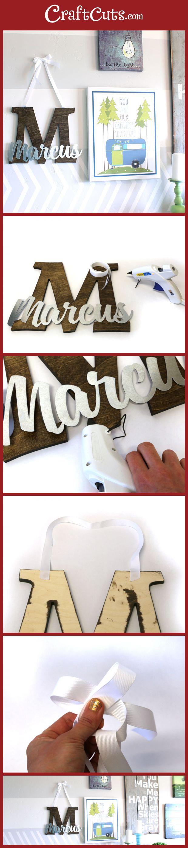 Stained Wood Monogram and Name Wreath   Nursery Monogram   Hanging Monogram   CraftCuts.com