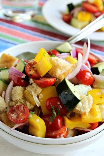 Awesome Panzanella Salad. The beauty of this salad is that it can be made ahead of time. Just mix the vinaigrette and store separately.