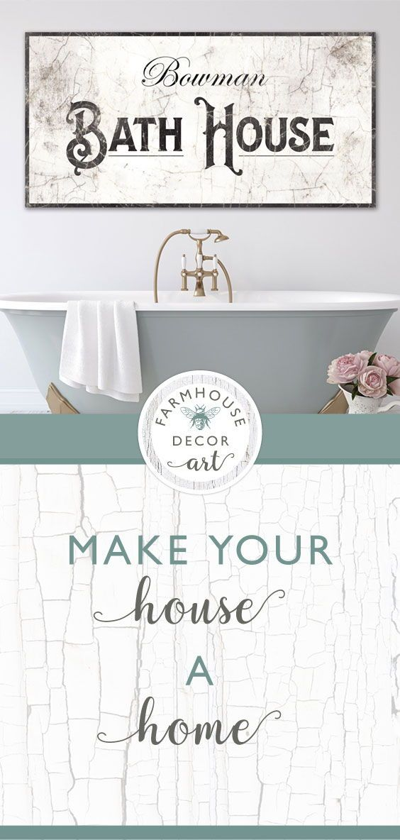 Personalized Bath House Sign Vintage Farmhouse Bathroom Wall Decor