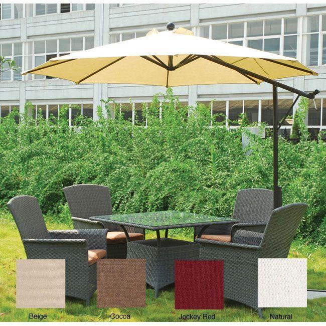 Lauren & Company Commercial 9-foot Dual Function Sunbrella Umbrella (Natural), Silver aluminum #LC8603Z