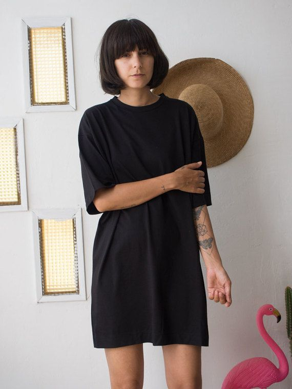 Negro T Shirt Dress / / vestido Casual Mini día de por ANNAKSHOP