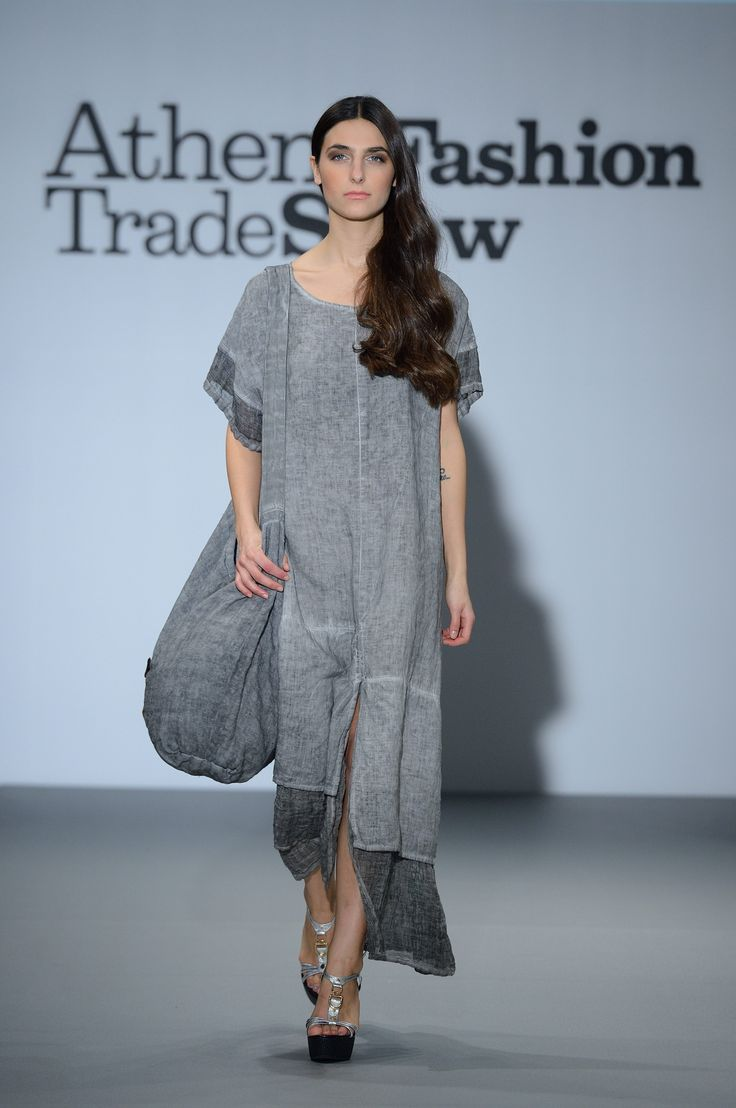 Artisan grey linen dress+ linen bag.  Summer in style 100% Natural fabrics only