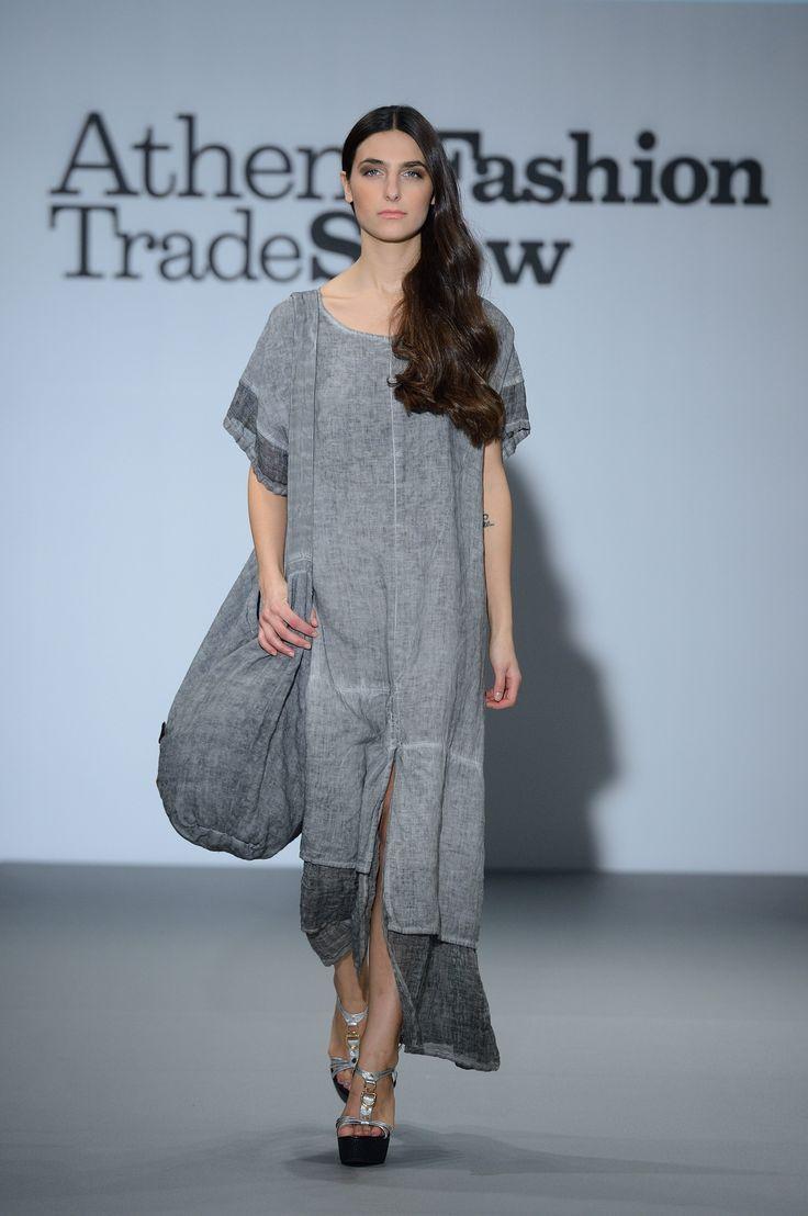 Artisan grey linen dress+ linen bag.  Summer in style 100% Natural fabrics only