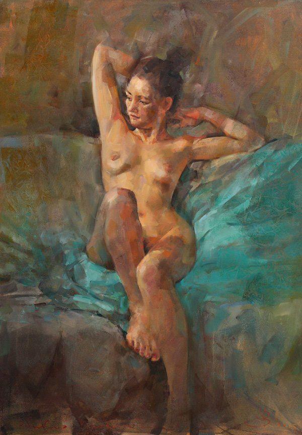 """Renata Brzozowska, """"Aga na sofie"""", olej na płótnie  100x70cm"""